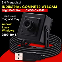 Usb Camera 5 Megapixel 2592X1944 Webcam with CMOS OV5640 Image Sensor and Aluminum Mini Box,Usb with Camera with 2.1mm Lens Web cam with UVC for Use in Android Windows Linux Mac Raspberry Pi,Plug&Play