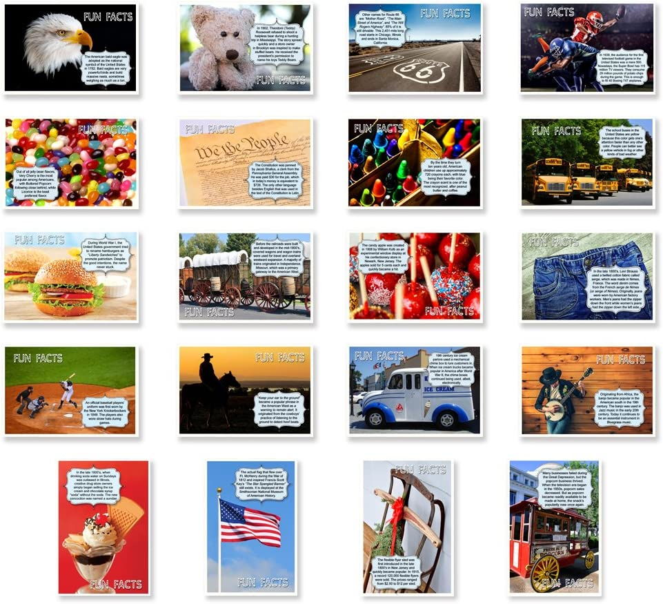 AMERICANA FUN FACTS Max 60% OFF postcard Complete Free Shipping set of 20 Iconic postcards. America
