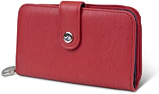Nautica Be Shore Womens Wallet RFID Blocking Zip Around Clutch (Fuego Red)