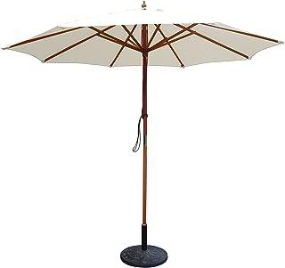 Jeco Wood Market Umbrella Market Umbrella, Tan, 9'