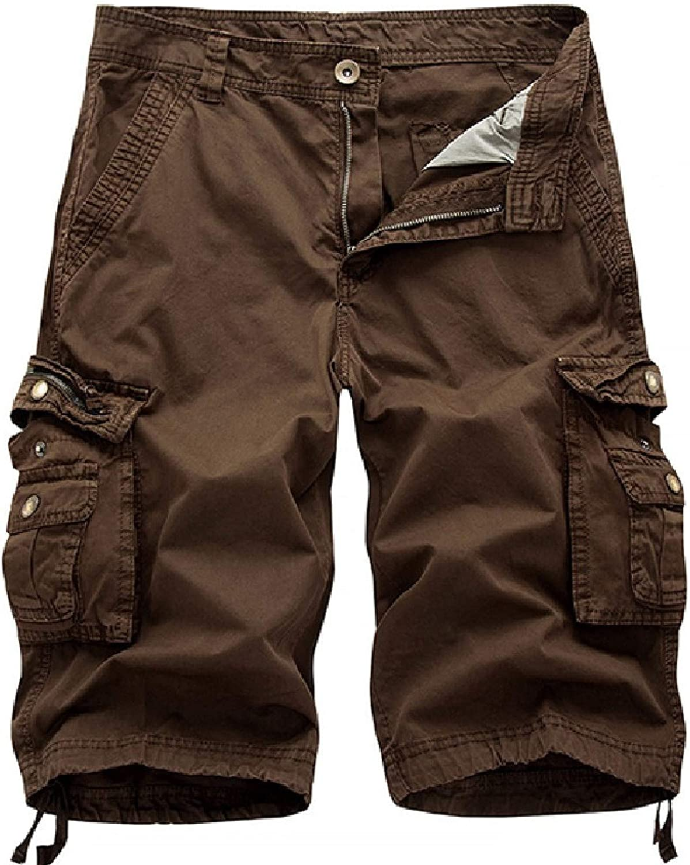 ZumZup Men's Summer Outdoor Cotton Lesuire Cargo Shorts Multi Pockets