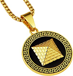 18k Plated Gold Silver Mens Hip-hop Egyptian Pyramid Necklace with 30