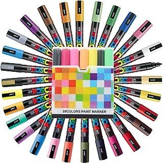 Uni Posca Paint Marker FULL RANGE Set, Mitsubishi ALL Natural & Dark, Gold & Silver Pen Medium Point 29 Color (PC-5M), Original Plastic Box