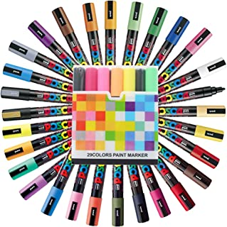 Uni Posca Paint Marker FULL RANGE Set, Mitsubishi ALL Natural & Dark, Gold & Silver Pen Medium Point 29 Color (PC-5M), Original Plastic Box
