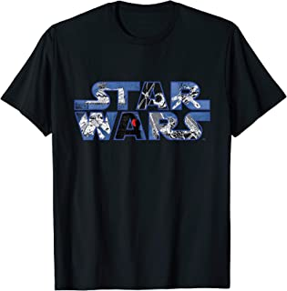 Star Wars Logo Millennium Falcon and Death Star T-Shirt