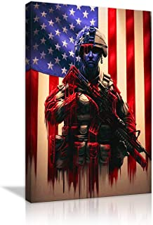 Vintage American Flag Canvas Red White Blue Military Soldiers Army Wall Art Retro Patriotic Concept USA Flag Painting Stars Stripes Artwork Print Giclee for Living Room Home Decor Framed Ready to Hang