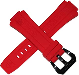 28MM Red Silicone Watch Strap Black Stainless Buckle fits 44mm Trimix Diver Watch