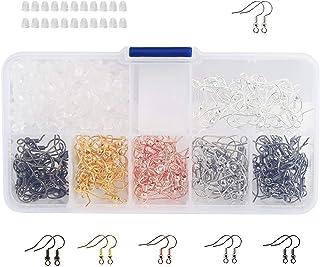 Ganchos para pendientes, ganchos de oreja, anzuelos de pez + 200 piezas de goma para pendientes con caja surtida para manualidades, joyería, manualidades y bisutería, 180 unidades (6 colores)