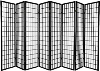 Legacy Decor Japanese Oriental Style Room Screen Divider Black, Cherry, Natural, Espresso or White Color (8-Panel, Black)