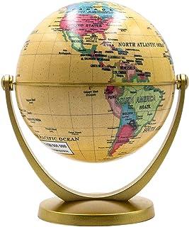 Scang Mini Antique Globe 4.17 اینچ / 10.6 سانتی متر - مفصل گردنده در هر جهت آموزشی ، تزئینی ، منحصر به فرد ، دنیای کوچک ، رومیزی ، پرنعمت (مینی آنتیک گلوب) (زرد)