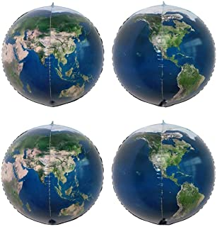 4 Pack 22 Inch World Map Balloons Planet Globe Earth Balloon for Playing or Teaching Space Theme Party Decoration