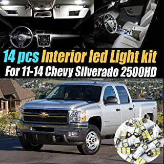 14Pcs White 6000K Interior LED Light Kit Pack Compatible for 2011-2014 Chevrolet Silverado 2500HD
