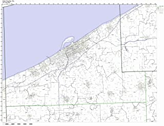 Erie County, Pennsylvania PA ZIP Code Map Not Laminated