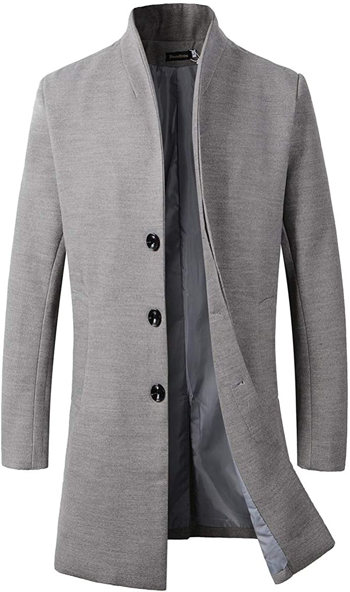 Beninos Mens Trench Coat Winter Long Jacket Button Closer Overcoat