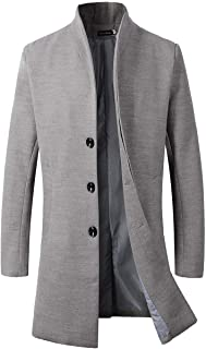 Men's Trench Coat Winter Long Jacket Button Closer Overcoat