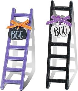 Bucherry 2 Pieces Halloween Ladder Tiered Tray Decoration Mini Wood Ladder Decor Mini Tiered Tray Ladder Halloween Wooden Ladder for Halloween Home Kitchen Shelf