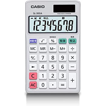 カシオ パーソナル電卓 時間・税計算 手帳タイプ 8桁 SL-300A-N