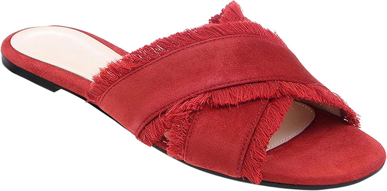 Baby&Queen-slippers Women Cross Dark bluee Velvet Flat Sandals Vacation shoes Wholesale