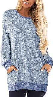 DJT Women's Soft Color Block Casual T Shirts Pockets Sweatshirts