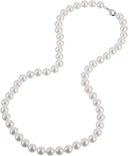 KEZEF Creations Cream White 8-14mm Simulated Faux Pearl Necklace Hand Knotted Strand 16-20 Inch