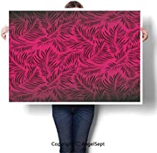 RWNFA Art Frameless Paintings,Palm Trees Hawaiian Forest Tropic Island Theme Leaves Ombre Artwork Image Print Magenta Black,W32 xL24,On Canvas Abstract