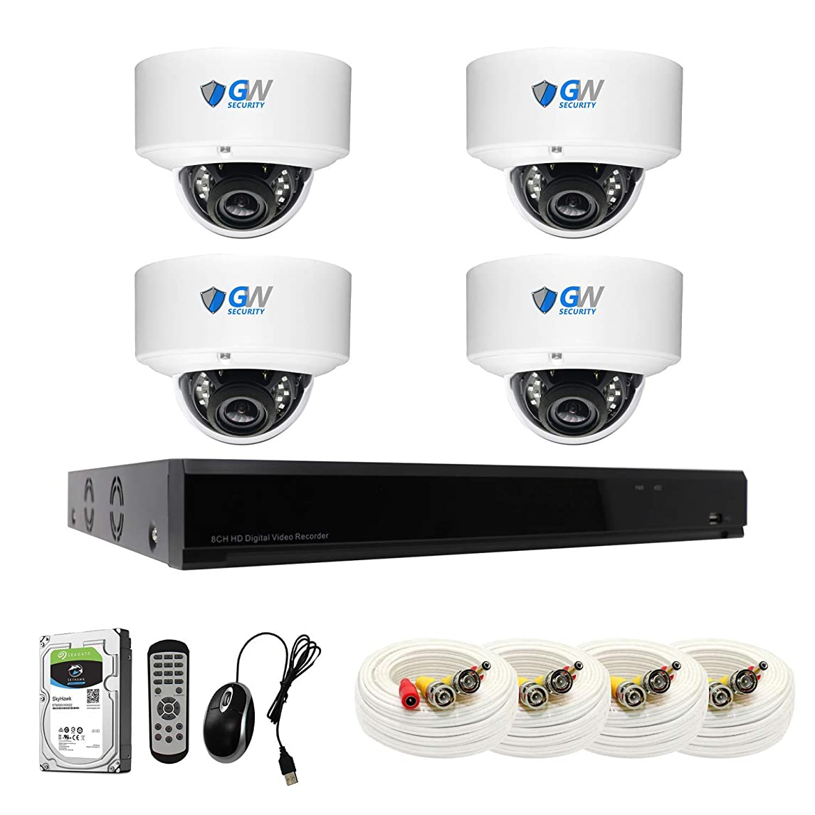 【2019 New】 GW 8CH 4K DVR H.265 8MP Complete Security System with (4) x 4K 2160P Waterproof 2.8-12mm Varifocal Zoom Dome CCTV Security Cameras, 100ft IR Night Vision, 4TB Hard Drive