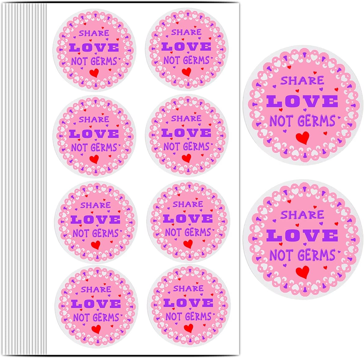 Share Love Not Discount mail order Germs Stickers 1.5 Fashionable Inch Hand S Labels