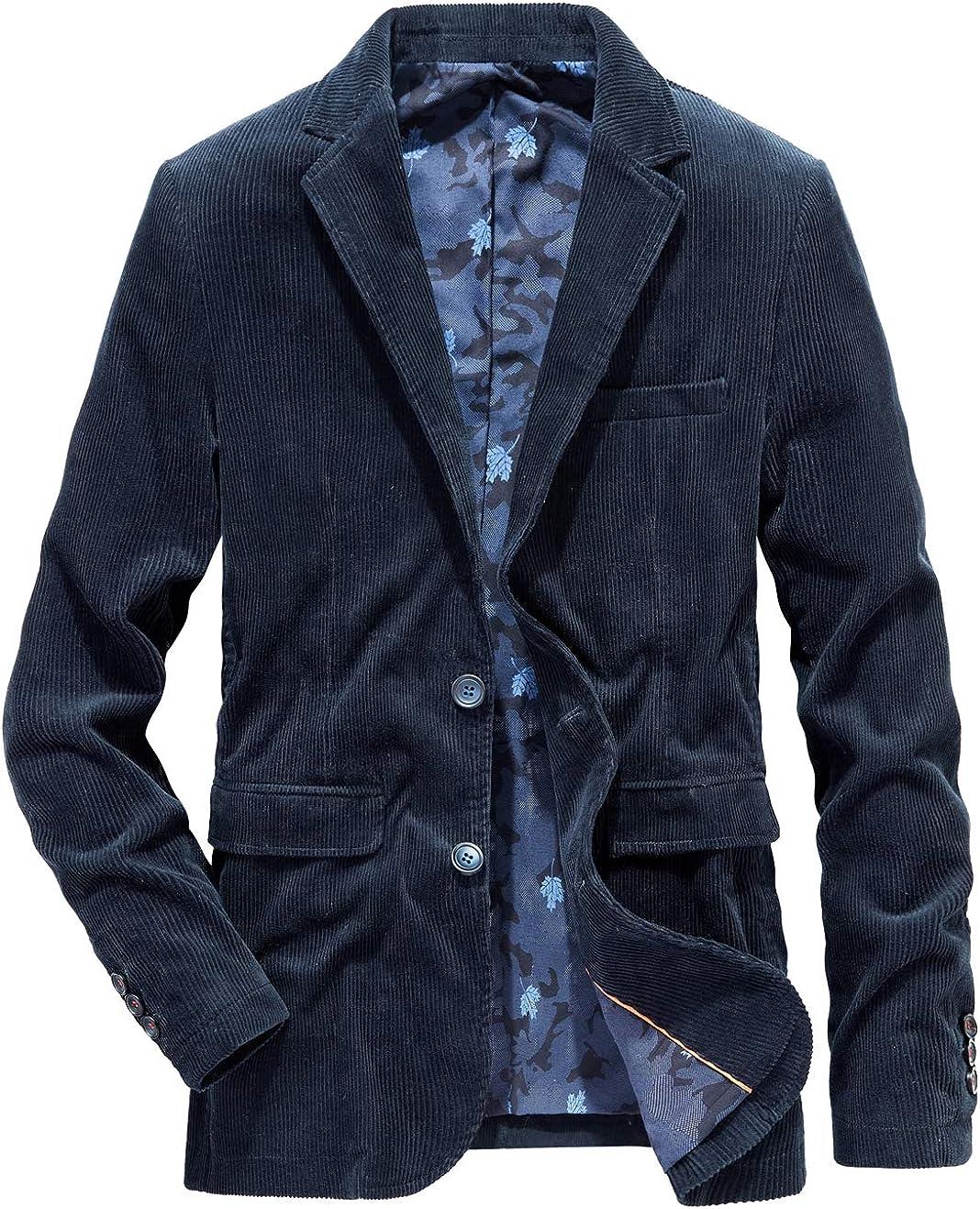 chouyatou Men's Sportswear Blazer 2 Lightweight Cord Max 44% OFF half Slim Button