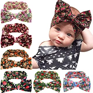 6 Pack Boho Flower Floral Print Hair Bow Turban Headbands Hairbands Headwraps Accessories for Baby Girls Toddlers Newborns Infants Kids