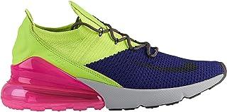 41d9d7b3709cf NIKE Men s Air Max 270 Flyknit Regency Purple Thunder Grey Volt Nylon  Basketball Shoes