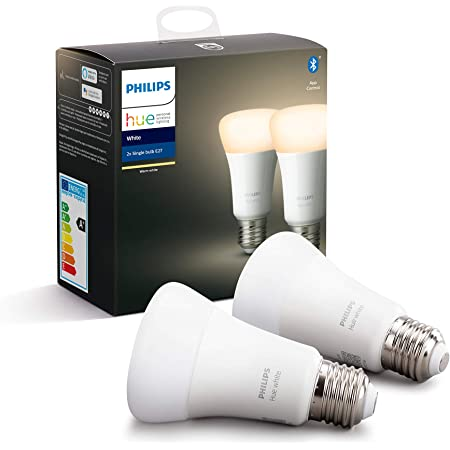 Philips Hue White Smart Bulb Twin Pack LED [E27 Edison Screw] with Bluetooth. Works with Alexa and Google Assistant, – A Certified for Humans Device.