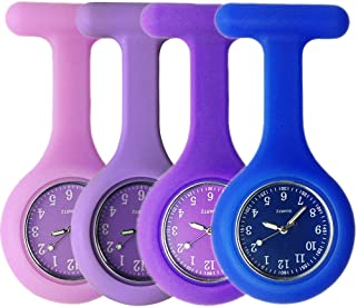 Set of 4 Nurse Watch Brooch, Silicone with Pin/Clip, Glow Pointer in Dark, Infection Control Design, Health Care Nurse Doctor Paramedic Medical Brooch Fob Watch - Purple Blue Navy