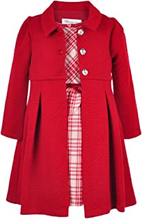 Girls Cranberry & Silver Plaid Dress With Cranberry Coat