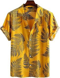 PPJIU Hawaiian Beach Shirt,Hawaiian Casual Buttoned Short Sleeve Novelly Tropical Leaves Printed Quick Dry Breathable Vint...