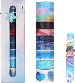 Molshine Set of 10(5.5yd/roll) Washi Masking Tape,Cute Tape + 10stickers,Look Up Starry Sky Series for DIY,Planners,Scrapbooking,Object Beautification,Home Furnishing Decor,Party,Gift Wrapping