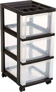 IRIS 3-Drawer Rolling Storage Cart with Organizer Top, Black