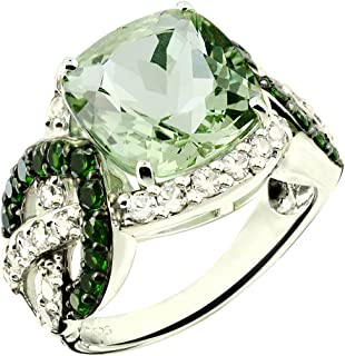 RB Gems Sterling Silver 925 Statement Ring Genuine Gemstone Cushion 12 mm, Rhodium-Plated Finish