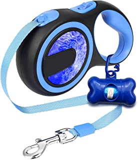 Musonic Retractable Dog Leash, 16 FT Durable Walking Leash, Best for Small Medium Dogs Up to 50 LBS, Lightweight and Tangle Free One Button Break & Lock, Free Waste Dispenser