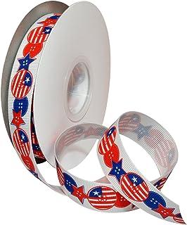 "Morex Ribbon 7525.22/25-914 Polyester Campaign Ribbon, 7/8""/25 yd, Red/White/Blue"