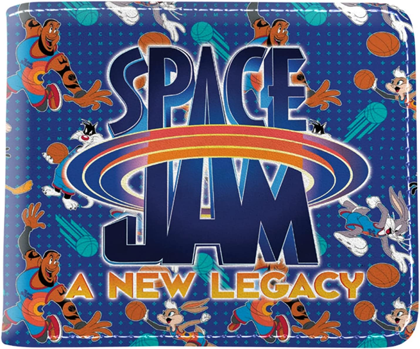 HNYL Space Jam 2 Wallet, PU Cartoon Colorful Space Jam A New Legacy Wallet for Men and Women (A)