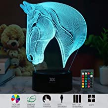 3D Illusion Animal Horse Head LED Desk Table Night Light Lamp 7 Color Touch Lamp Kiddie Kids Children Family Holiday Gift Home Office Childrenroom Theme Decoration by HUI YUAN (Remote Control)