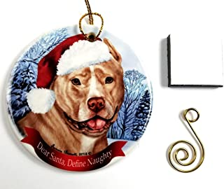 """Imprints Plus Dog Christmas Ornament 3"""" Porcelain Gift-Boxed with Tree Hook and Magnet Pet Holiday Decoration Bundle (HO 001)"""