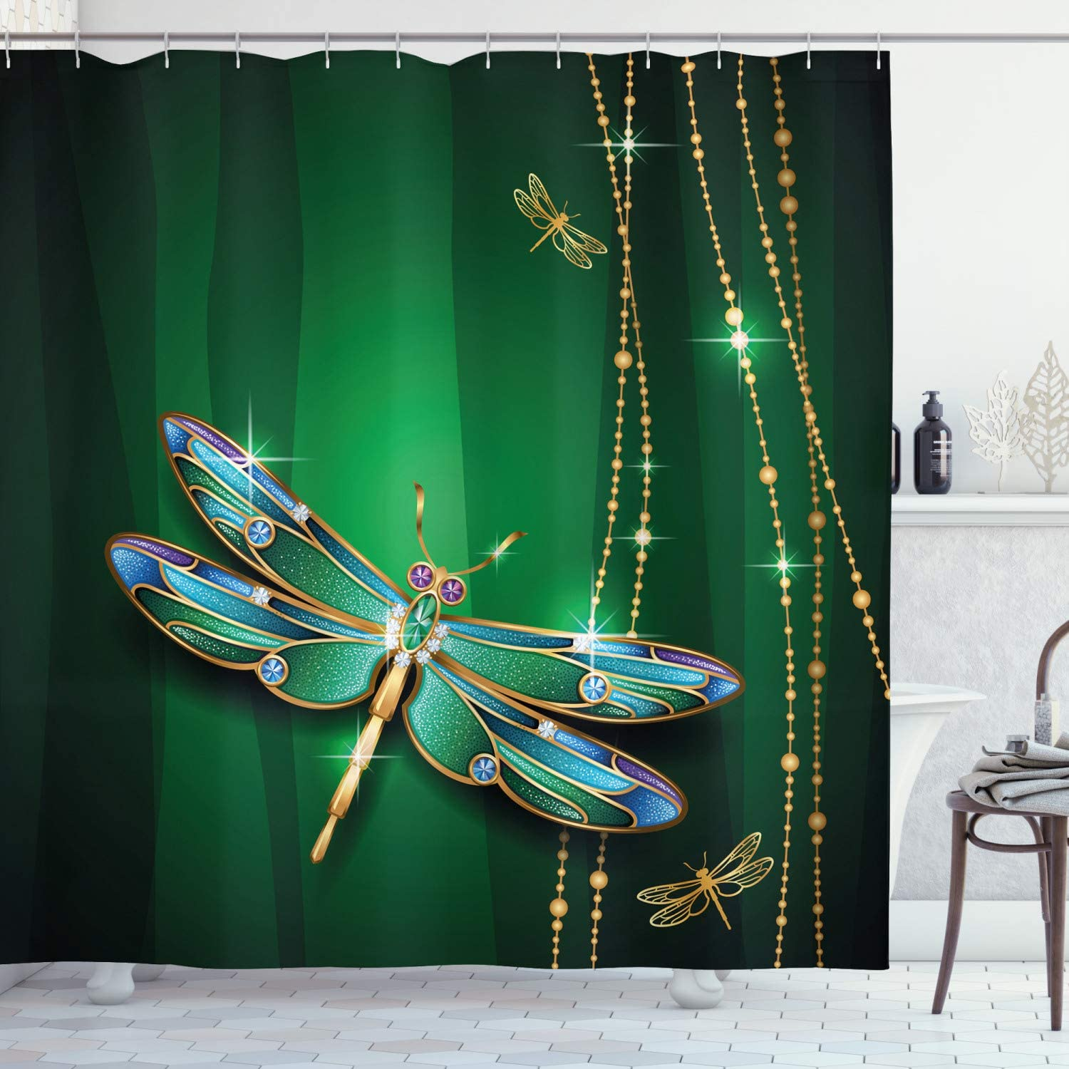 Dragonfly Insects Waterproof Bath Polyester Shower Curtain Liner Water Resistant
