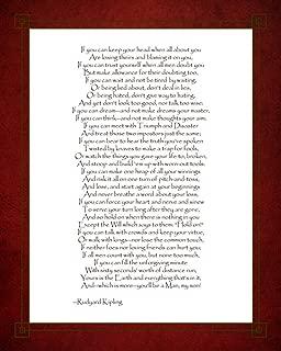 If - Red Border by Rudyard Kipling Art Print, 22 x 28 inches