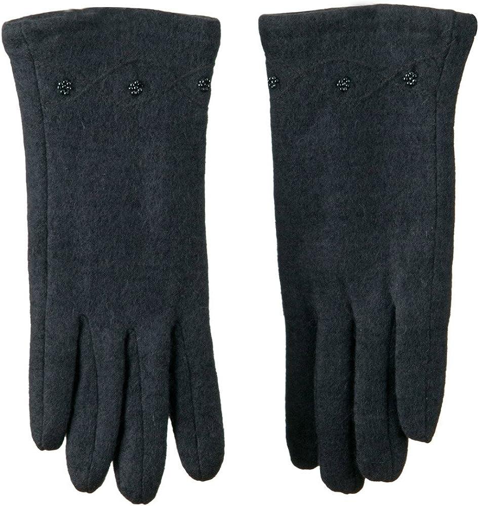 Ladies Cashmere Criss Cross Horizontal Stitching Beaded Glove - Grey W17S41F