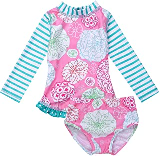 c61292b68e666 TiaoBug Enfant Fille 2Pcs Floral Maillot de Bain Tutu T-Shirt à Manche  Longue Imprimé