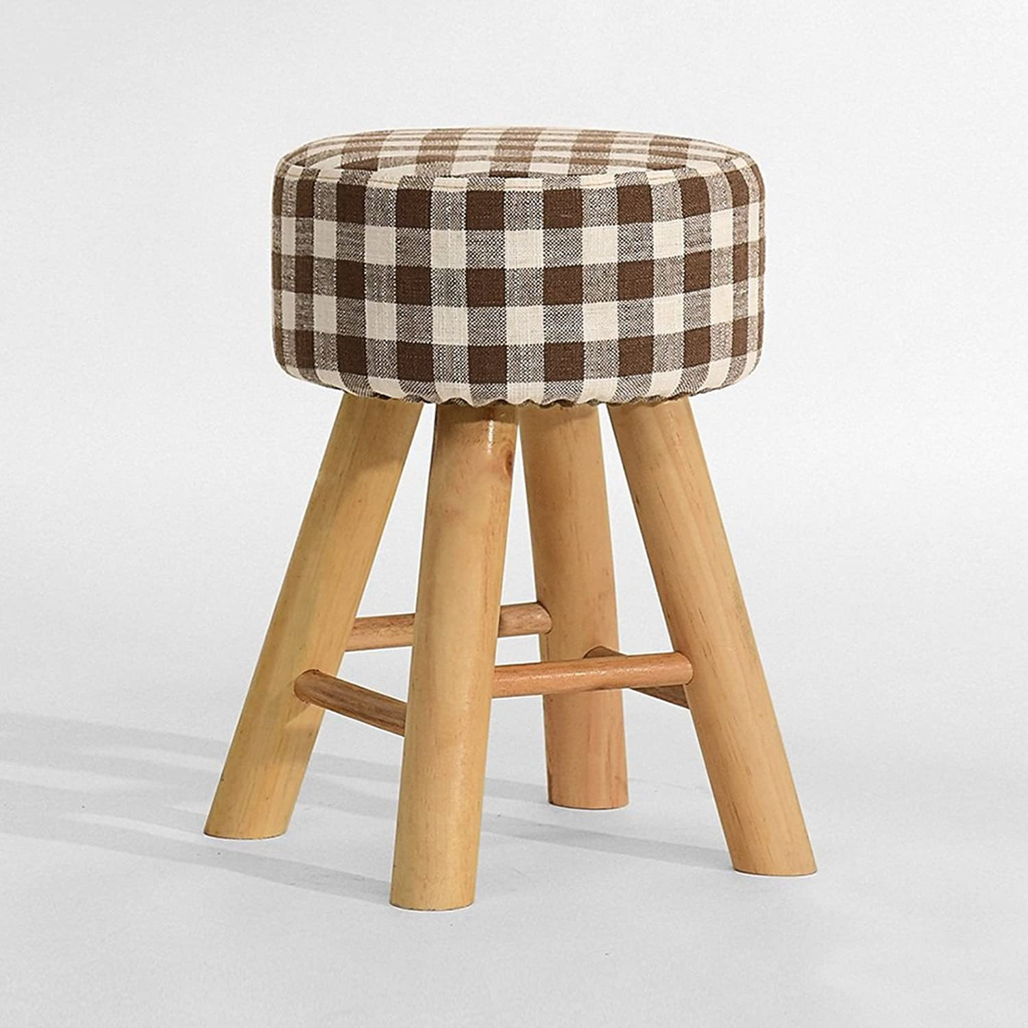 European Chair Solid Wood Dining Stool, Fashion Creative Fabric Stool Dressing Stool Home Stool (color   D)