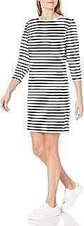 Women's Crewneck Long-Sleeve French Terry Fleece Above-the-Knee Dress