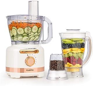 Klarstein Luca Multifunktionsmixer Standmixer Zerkleinerer Küchenreibe Saftpresse Food Processor, 1000 Watt, stufenlos, 6 Modi, BPA-frei, 3 Liter, 3 l Messbecher, Spatel, Weiß