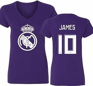 Tcamp Real Madrid Shirt James Rodriguez #10 Jersey Womens V-Neck T-Shirt